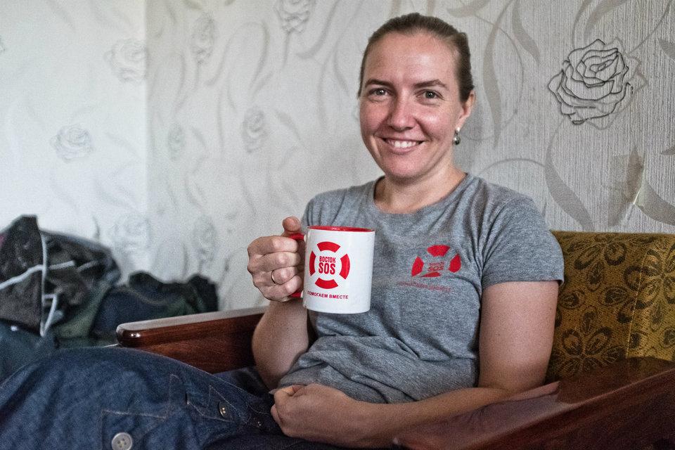 Marco Fieber Marija Guljaewa, Leiterin des Büros von Vostok SOS in Sjewjerodonezk.
